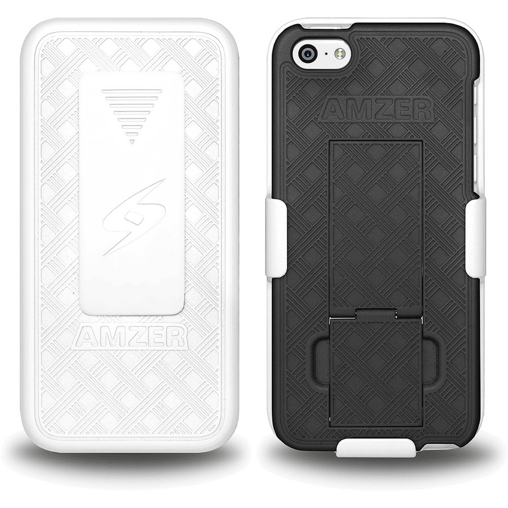 AMZER Shellster Case with Kickstand, White/Black