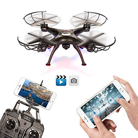 BABADIO 2 Remote Control Mode 4 Channel 2.4G 6-Axis Gyro RC Headless Quadcopter X5SW-1 Drone with Wifi Camera... by