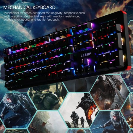 LESHP 104 Keys USB Wired Game RGB Mechanical Keyboard with