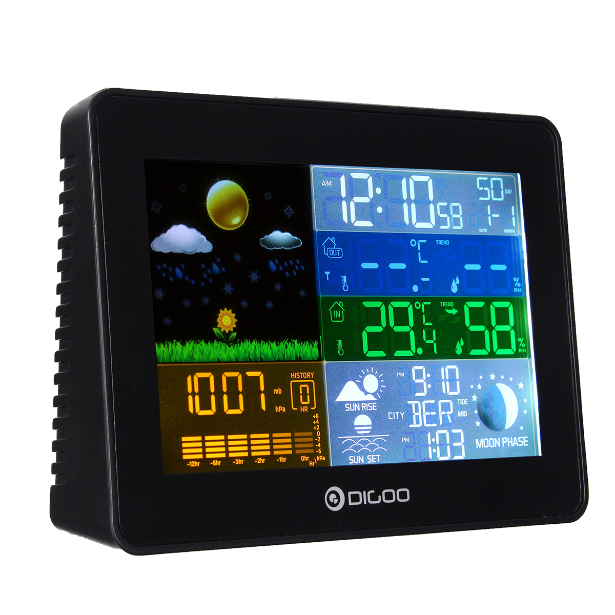 Wireless Weather Station,Digoo LED Screen Weather Forecast Station with Back-light Time Date Display Humidity Temperature Meter Monitor Thermometer Hygrometer Clock