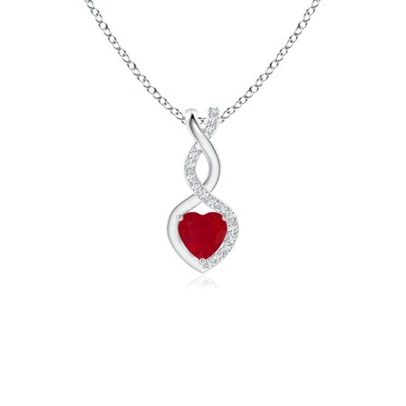 - Mother's Day Jewelry - Ruby Infinity Heart Pendant with Diamonds in 14K White Gold (4mm Ruby) - SP1084RD-WG-AA-4