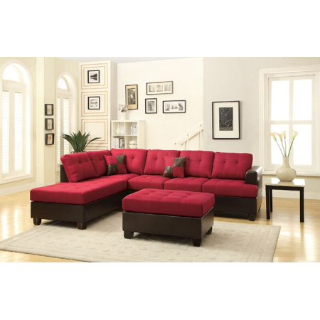 Groovy Poundex Bobkona Winden Blended Linen 3 Piece Reversible Sectional Sofa With Ottoman Carmine Spiritservingveterans Wood Chair Design Ideas Spiritservingveteransorg