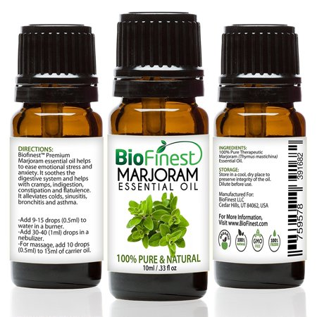 BioFinest Marjoram Oil - 100% Pure Marjoram Essential Oil - Premium Organic - Therapeutic Grade - Best For Aromatherapy - Antiseptic - Ease Stress/Anxiety - FREE E-Book