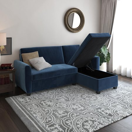 DHP Noah Sectional Sofa Bed with Storage, Twin Frame, Dark Blue Velvet