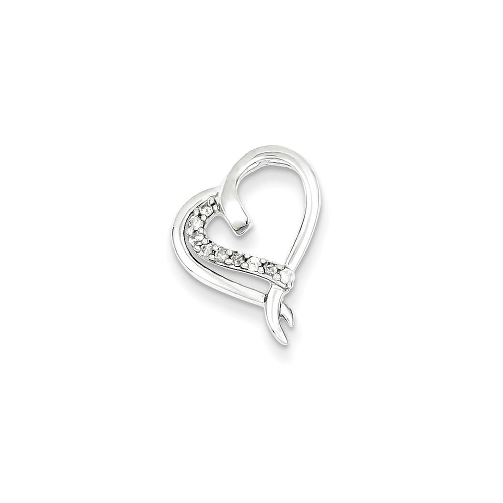 Sterling Silver Diamond Heart Pendant. Carat Wt- 0.1ct