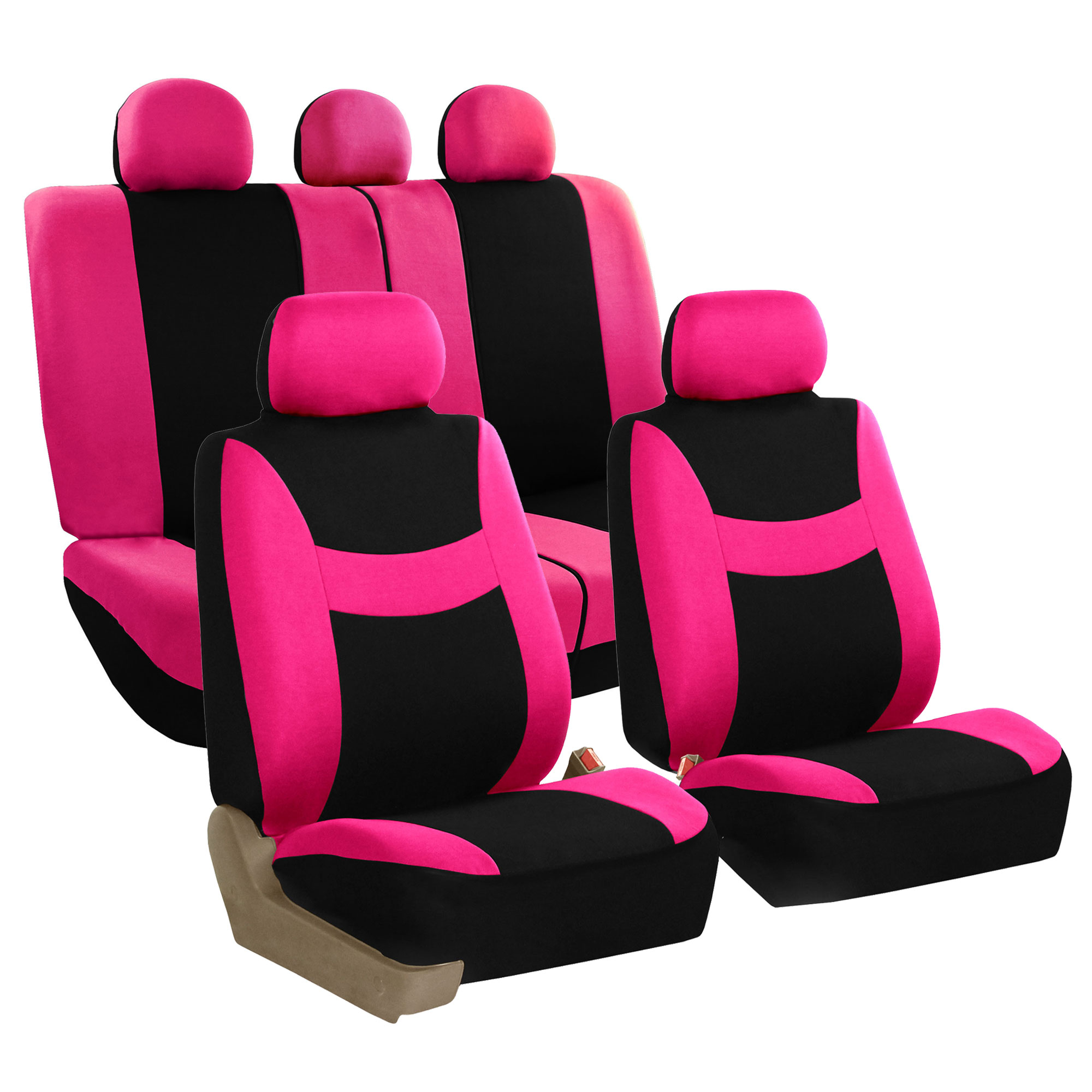 FH Group Light & Breezy Pink and Black Airbag Compatible and Split Bench Full Set Seat Covers