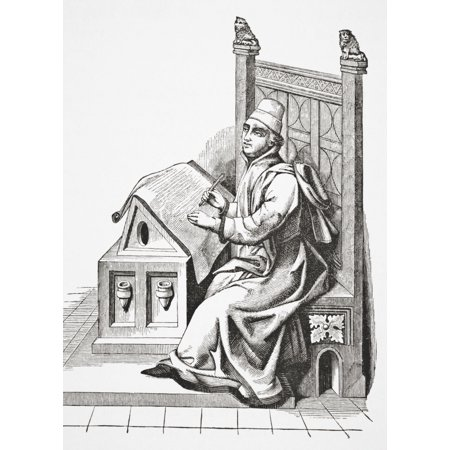 Copyist Writing On A Sheet Of Vellum After A Miniature From A 15Th Century Manuscript From Science And Literature In The Middle Ages By Paul Lacroix Published London 1878 Canvas Art - Ken Welsh  Desig