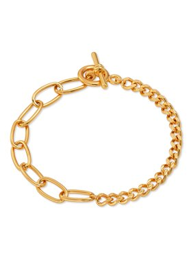 """Scoop Brass Yellow Gold-Plated Curb Link Chain Bracelet, 8.5"""""""