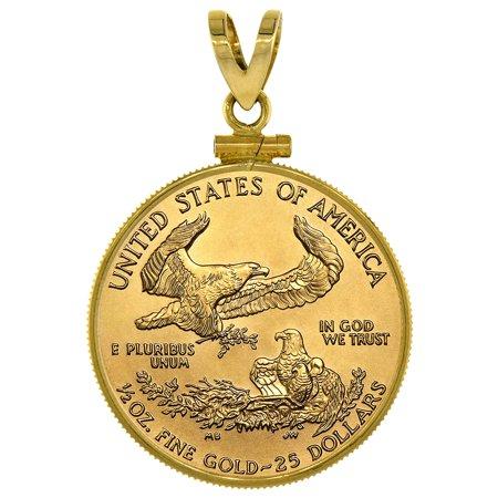 14k Gold 1/2 oz Gold Eagle Bezel Plain 27mm Coin $10 Gold Eagle Screw Top