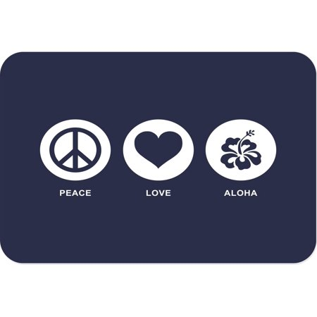 Rikki Knight Peace Love Aloha Blue Color Large Glass Cutting Board