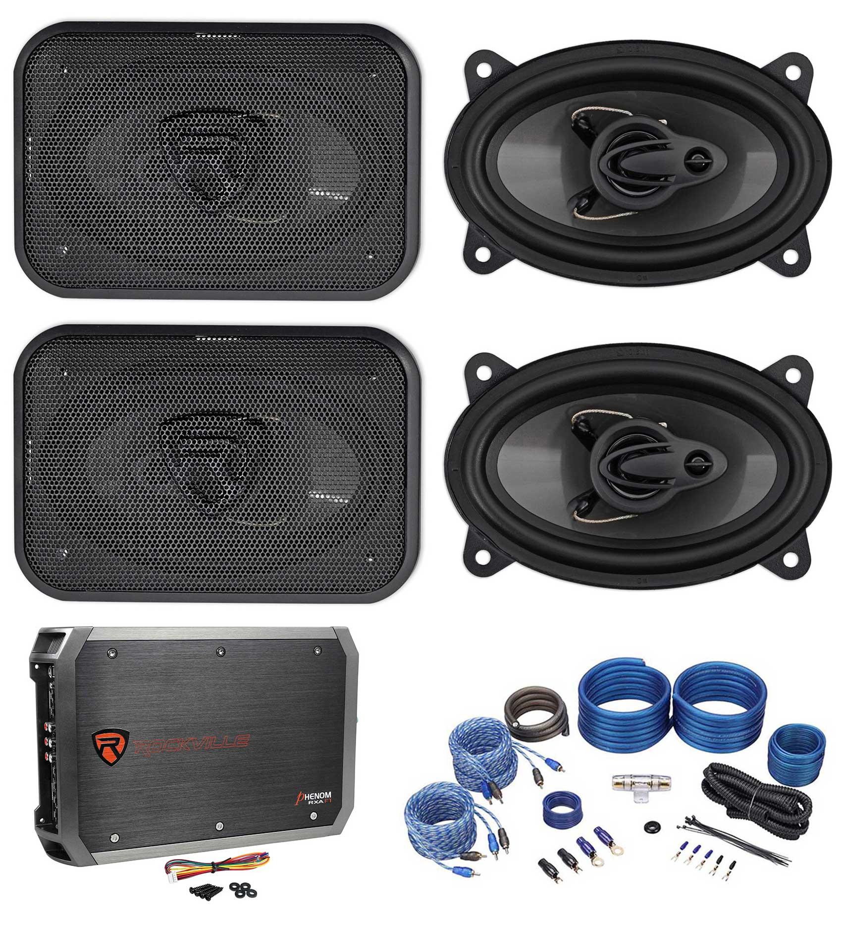 "(4) Rockville RV46.3A 4x6"" 1000w 3-Way Car Speakers+4-Cha..."