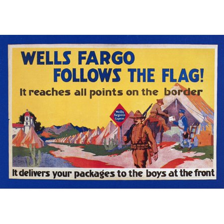 Mexican Expedition 1916 Nbanner For Wells Fargo   Co Express 1916 Promising Parcel Delivery To Troops In The Mexican Expedition Against The Forces Of Pancho Villa Rolled Canvas Art     24 X 36