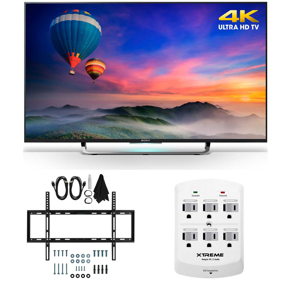 Sony XBR-43X830C - 43-Inch 4K Ultra HD Smart LED HDTV Slim Flat Wall Mount Bundle