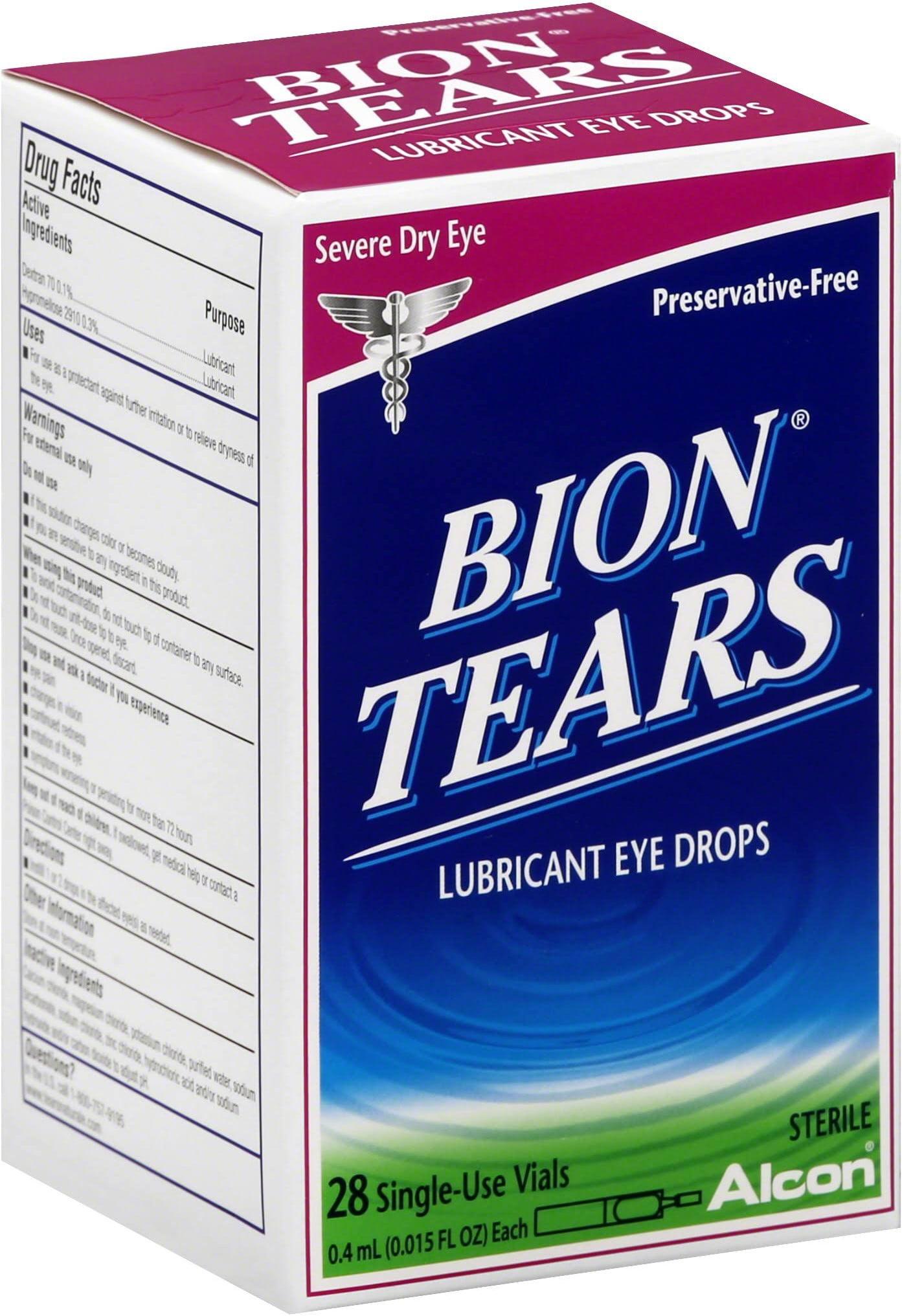 Bion Tears Lubricant Eye Drops Single Use Vials 28 Ea Pack Of 4 Walmart Com Walmart Com