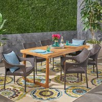 Amina Outdoor 7 Piece Acacia Wood Dining Set with Stacking Wicker Chairs