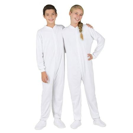 Footed Pajamas - Footed Pajamas - Arctic White Kids Fleece Onesie -  Walmart.com 260eefcfd