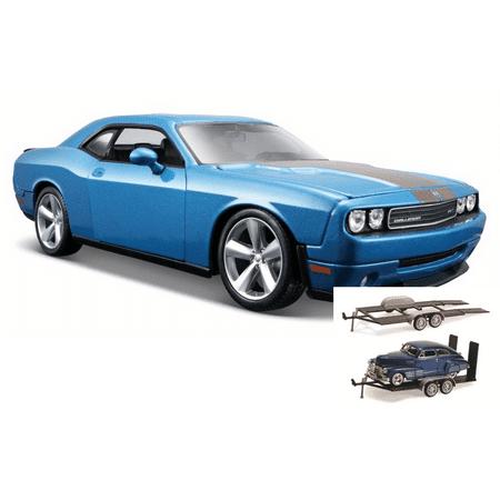 Diecast Car & Trailer Package - 2008 Dodge Challenger SRT8 Hard Top w/ Sunroof, Blue - Maisto 31280BU - 1/24 Scale Diecast Model Toy Car w/Trailer