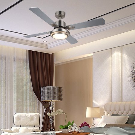 52-inch Ceiling Fan Light Brushed Nickel Finish w/ 15W LED & Remote, UL Listed](Led Fan Light)