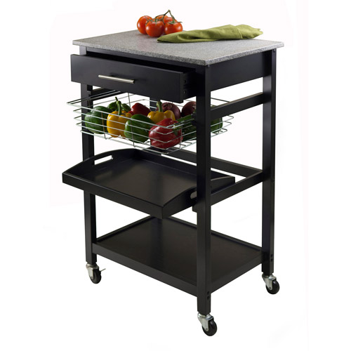 Wood Julia Kitchen Cart with Granite Top, Black