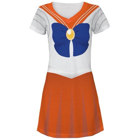 Anime Venus Sailor Costume All Over Juniors V-Neck Dress - Las Vegas Halloween Events