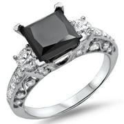 Noori 18k White Gold 2 1/8ct TDW Black Princess-cut Diamond Ring Size-4