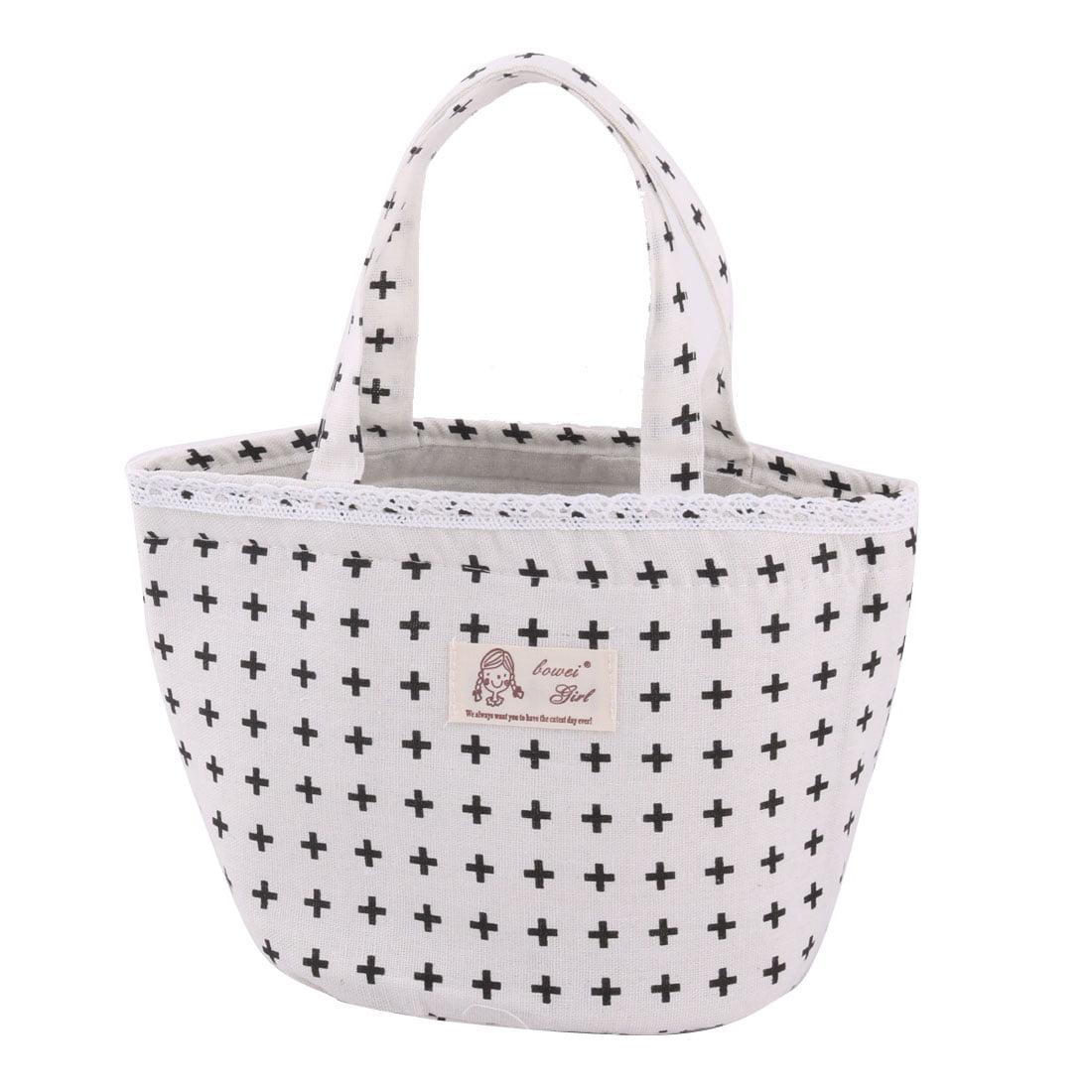 School Cotton Linen Symbol Print Lunch Box Holder Cooler Bag Drawstring Handbag