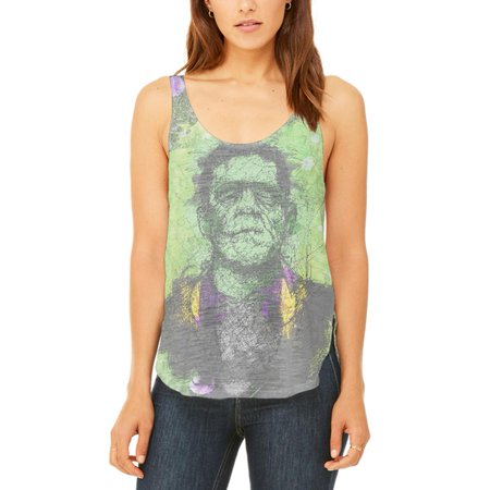 Halloween Frankenstein Raver Horror Movie Juniors Flowy Side Slit Tank Top