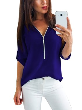 d3c79beb55c Product Image Women Casual Zip Neck Tops Shirt Ladies V Neck Zipper Loose T- Shirt Fashion Summer