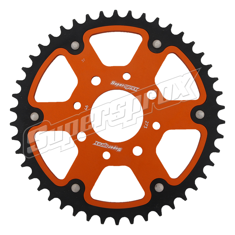 New Supersprox - Orange Stealth Sprocket, 46T, Chain Size 520, Rst-273-46-Org