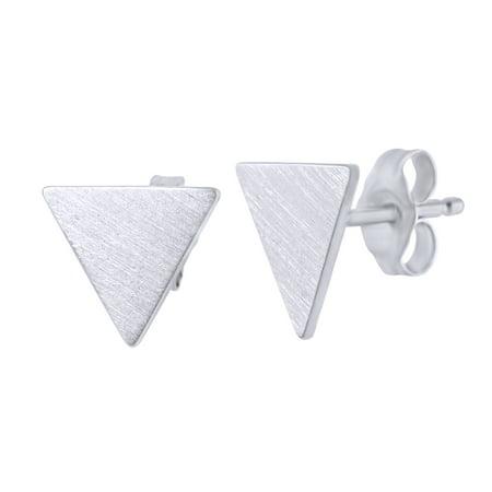 Triangle Shape Women's Stud Earrings In 14K White Gold Over Sterling