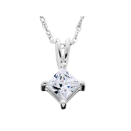 1/4ct Princess Cut Solitaire Diamond Pendant 14K White Gold Brilliant Cut Diamond Solitaire Pendant