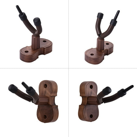 Wall Mount Violin Fiddle Viola Hanger Hook Keeper with Bow Holder Rubber Cushion Wood Base - image 3 of 4