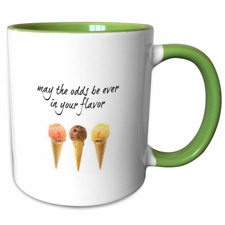 3dRose may the odds be ever in your flavor, picture of ice cream cones - Two Tone Green Mug, (Best Arctic Zero Ice Cream Flavors)