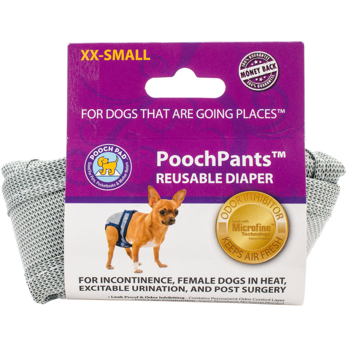 PoochPants Reusable Dog Diaper, XX-Small, Up To 4 lbs