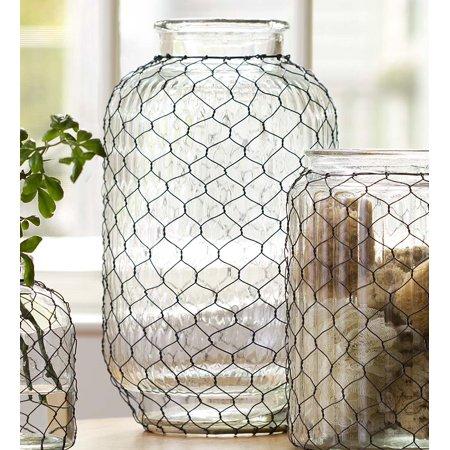 Large Pickle Jar Chicken Wire Glass Vase - Walmart.com