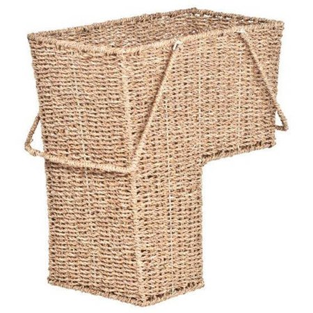 """15"""" Wicker Storage Stair Basket with Handles by Trademark Innovations"""