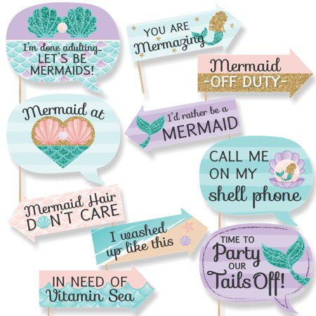 Photo Booth Props For Graduation (Funny Let's Be Mermaids - Baby Shower or Birthday Party Photo Booth Props Kit - 10)