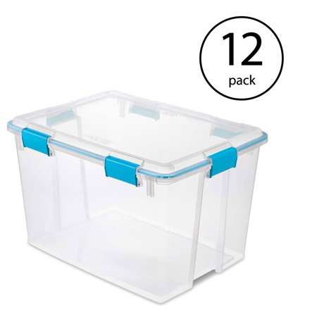 Sterilite 80 Quart Plastic Home Storage Gasket Box Container, Clear (12