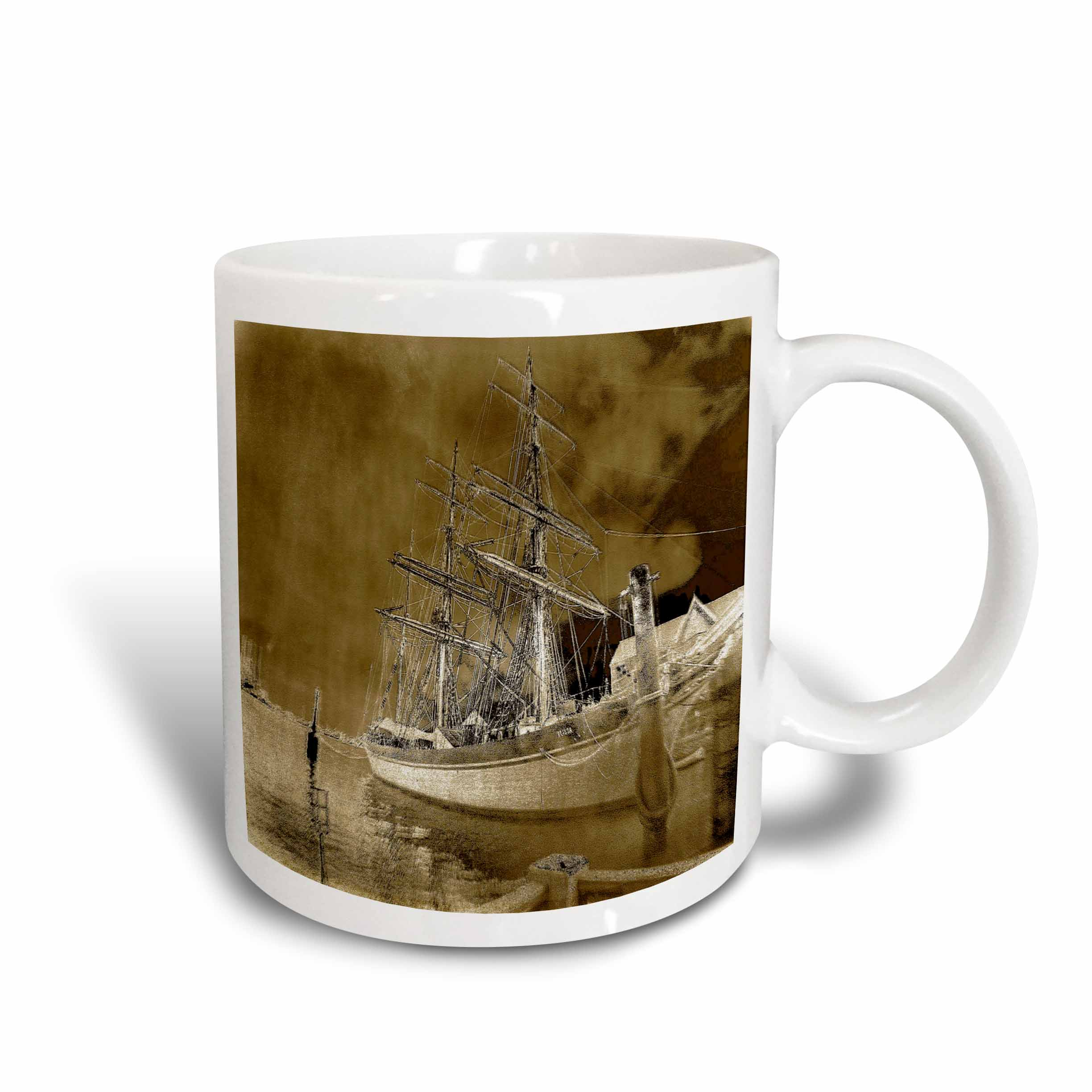3dRose Galvestons Elissa Tall Ship, Ceramic Mug, 15-ounce by 3dRose