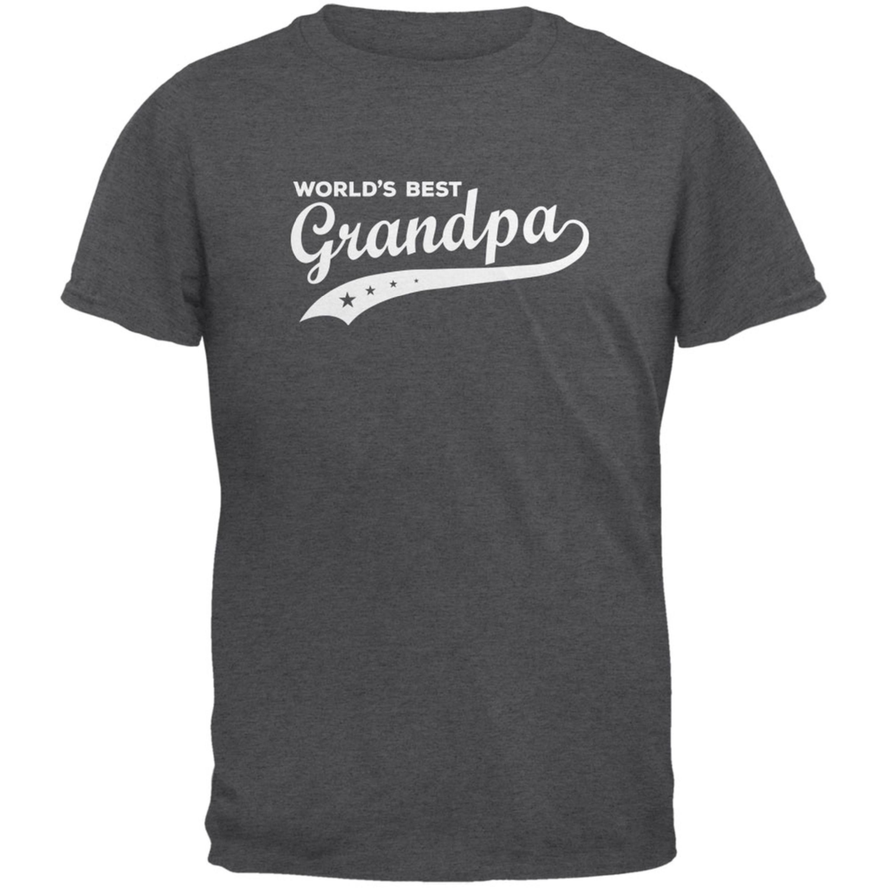 Father's Day - World's Best Grandpa Dark Heather Adult T-Shirt