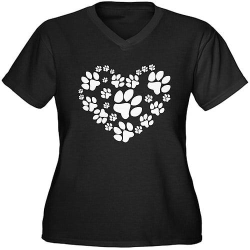 CafePress Women's Plus-Size Paws Heart Graphic T-shirt