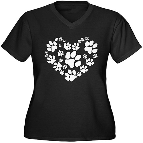 CafePress Women's Plus-Size Paws Heart Graphic T-shirt