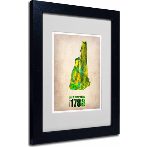 """Trademark Fine Art """"New Hampshire Watercolor Map"""" Matted Framed Art by Naxart, Black Frame"""
