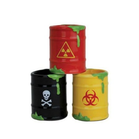 3 Toxic Waste Bio Hazard Barrel Shot Glasses Set - Drinking Zombie Party Gift Peoples Choice By na (Halloween Toxic Waste Barrel)