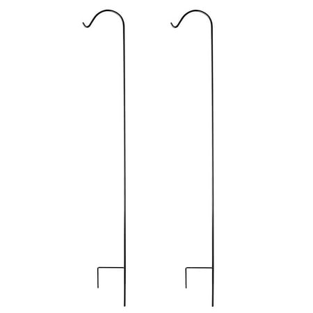 Image of Ashman Black Shepherd Hook 92 Inch, 15MM Thick, Super Strong, Rust Resistant Steel Hook Ideal for Use at Weddings, Hanging Plant Baskets, Solar Lights, Lanterns, Bird Feeders & More (2, Black)