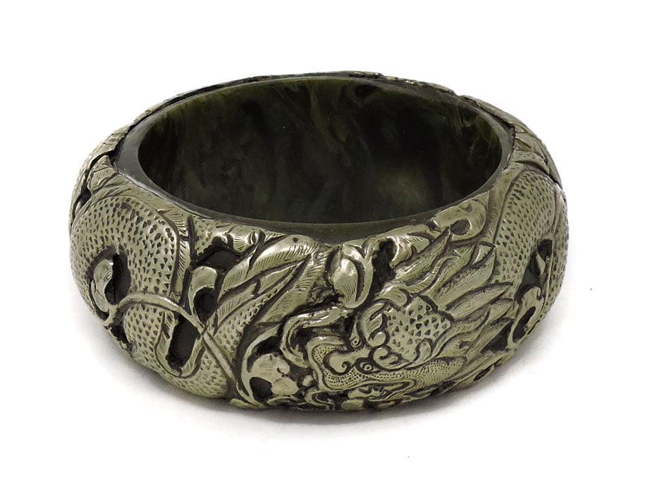 Tibetan Bangle Silver Repoussee Bracelet Green by
