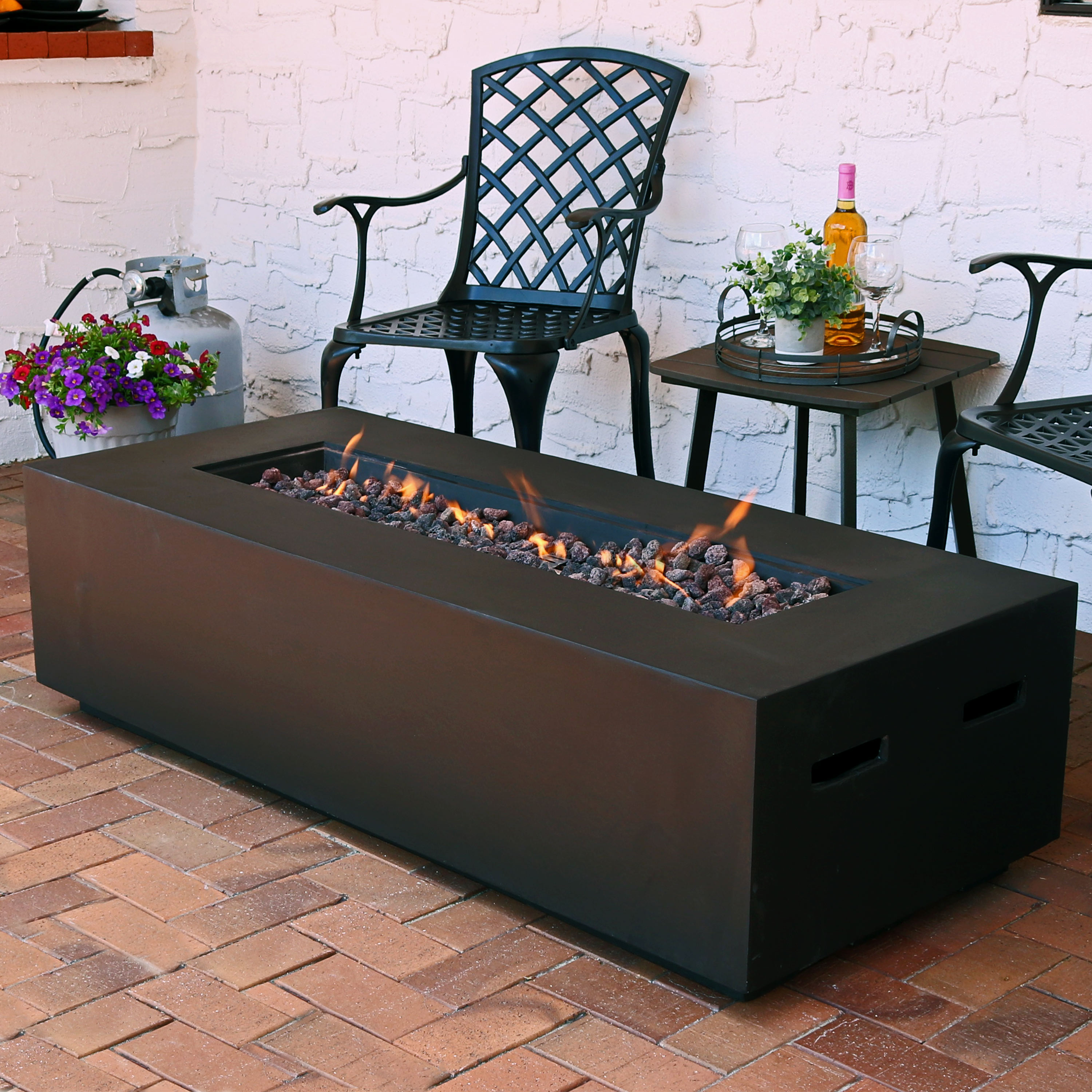 Sunnydaze Outdoor Rectangular Propane Gas Firepit Table with Lava Rocks, Brown, 56-Inch by Sunnydaze Decor