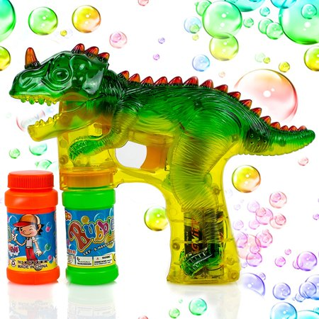Toysery Dinosaur Bubble Shooter Gun Light Up Bubbles Blower with LED Flashing Lights and Dinosaur Sound Toy for Kids, Boys and Girls.