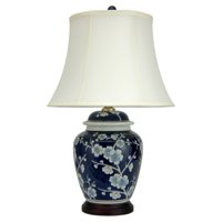 """Oriental Furniture 22"""" Blue Cherry Blossom Lamp, table lamp, end table lamp, bedroom, living area item"""