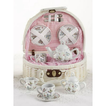 Delton Children's Tea Set with Basket - Pink Butterfly - Personalized Tea Set